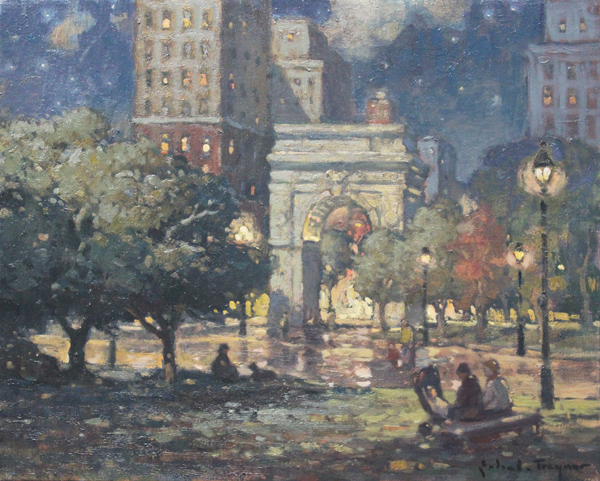"Washington Square Park at Night - 16"" x 20"""