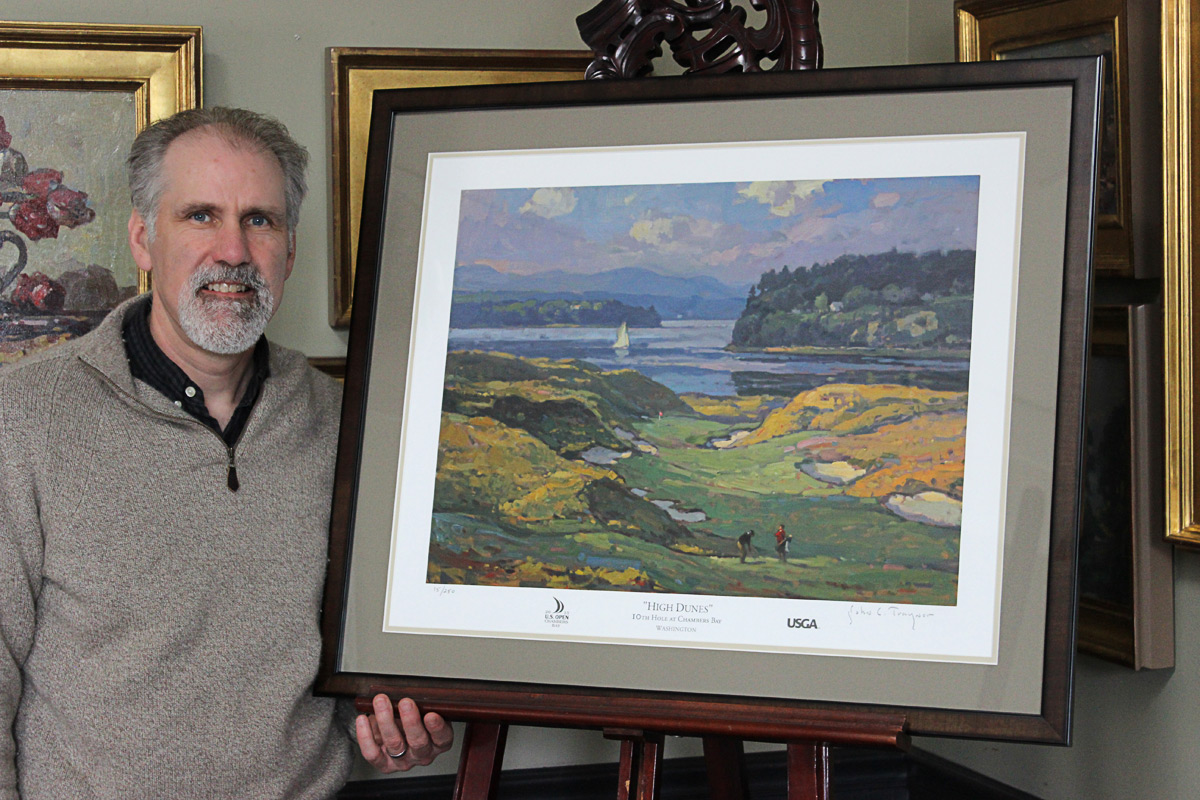 "John Traynor with his U.S. Open 2015 Painting, ""High Dunes"" 10th Hole at Chambers Bay, Washington 436-Yard Par 4"