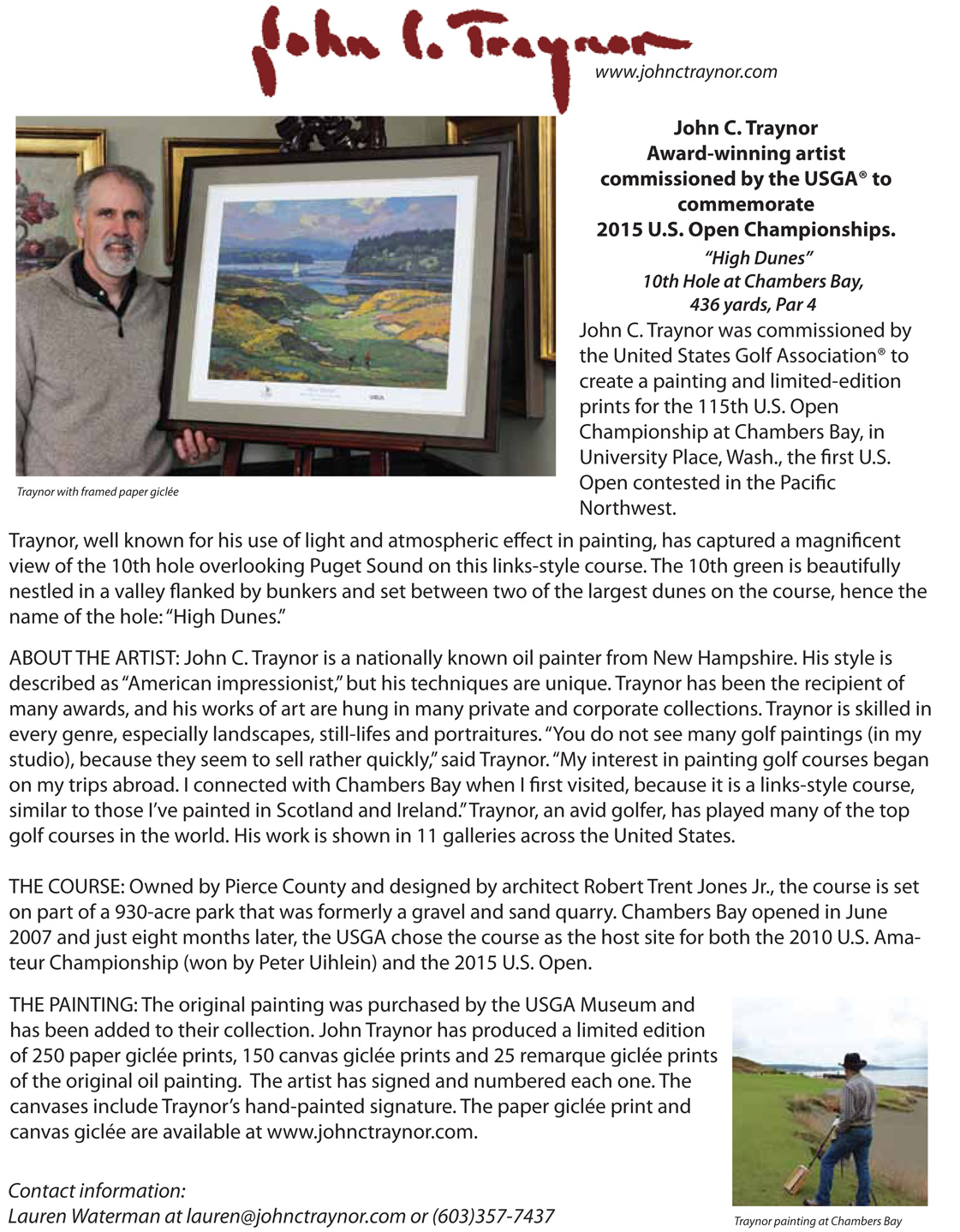 I have been commissioned by the USGA as this years fine-artist for
